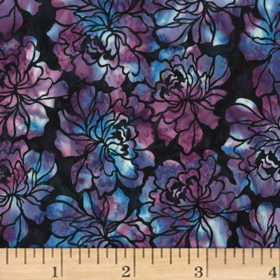 Hoffman Bali Batiks Graphic Floral Blackberry