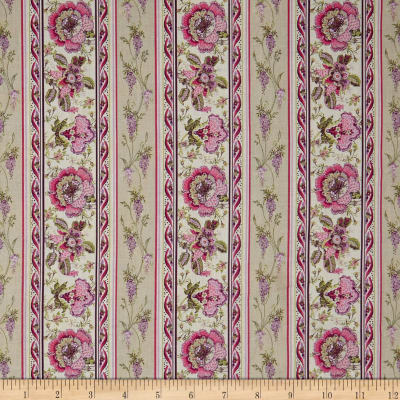 Stof France Valdrome Surya Floral Ecru/Rose