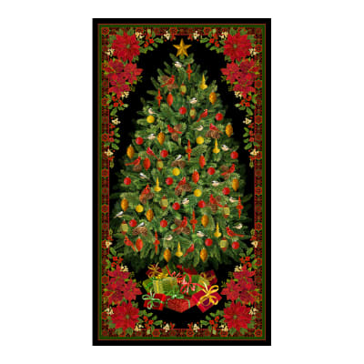 "Timeless Treasures Metallic Joyful Season 24"" Christmas Tree Panel Multi"