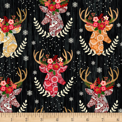 Timeless Treasures Flannel Festive Stag Heads Black
