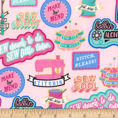 Timeless Treasures Sew Cool Sewing Words Pink