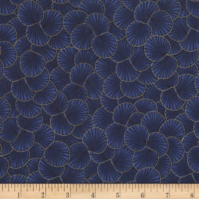 Timeless Treasures Metallic Sakura Packed Geo Leaf Navy
