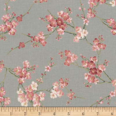 Timeless Treasures Metallic Sakura Blossom Grey