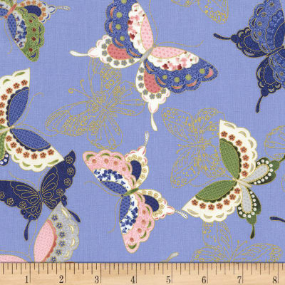 Timeless Treasures Metallic Sakura Quilted Butterflies Blue