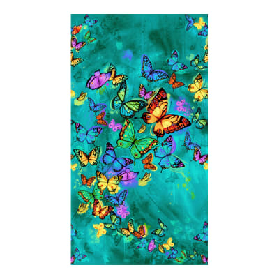 """Timeless Treasures Butterfly Pavilion 24"""" Butterfly Panel Turquoise"""