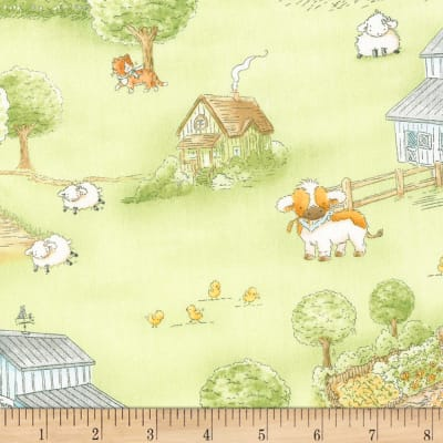 Timeless Treasures Flannel Cotton Tale Farm Farm Scenic Green