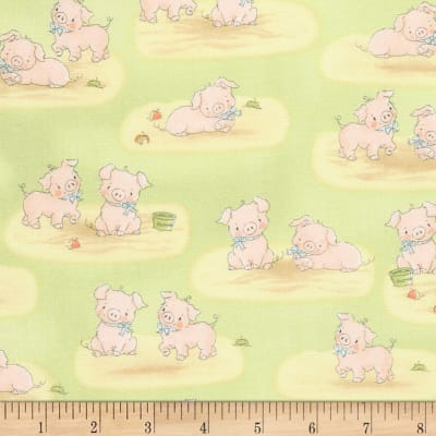 Timeless Treasures Flannel Cotton Tale Farm Pigs Green