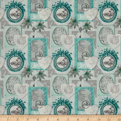 Stof France Le Quilt Belle Epoque Hearts and Frames Grey