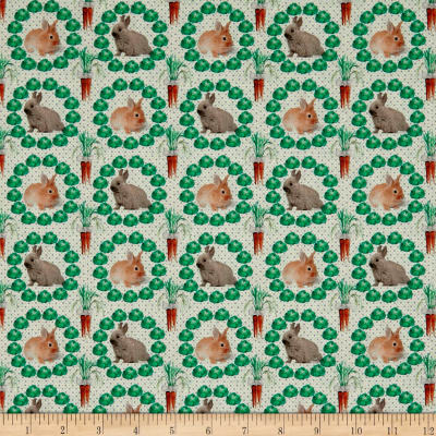 Stof France Le Quilt Petits Lapins Rabbit Green