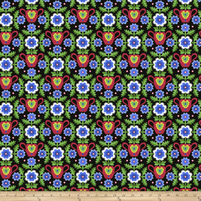 Jane Sassaman Folk Tales Flowered Coverlet Blue