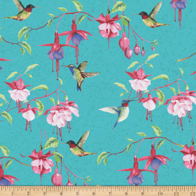 Fuchsias and Hummingbirds Teal