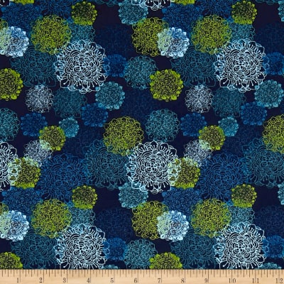 Spring Robins Floral Light Navy