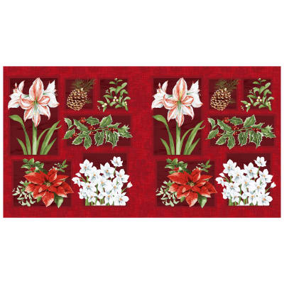 "Holidays Remembered Floral 22"" Panel Dark Brick"