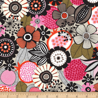 Birds and Blooms Large Floral Light Khaki