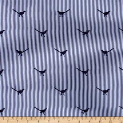 Telio Embroidered Poplin Bird Navy Blue