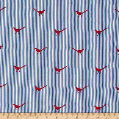 Telio Embroidered Poplin Bird Red Blue