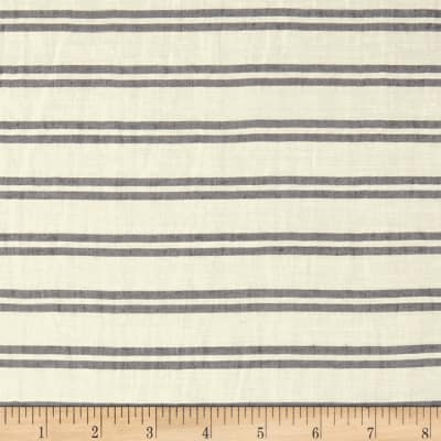 Telio Linen Rayon Yarn Dyed Stripe White Black