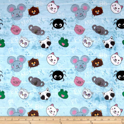 Michael Milelr Minky Animal Scatter Animal Letter Scatter Light Blue