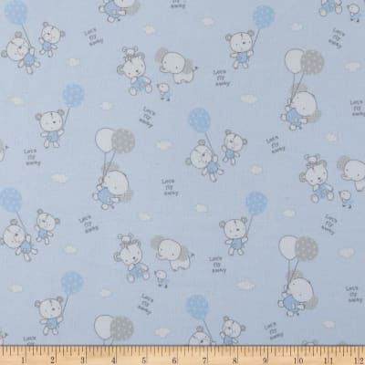 Les Enfantes Flannel Large Allover Animals Blue
