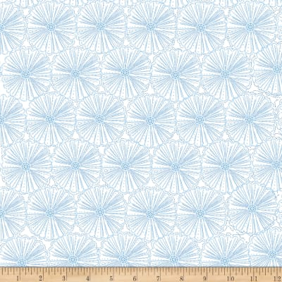 Kanvas Blue Brilliance Etched Pearl Flowers Metallic White