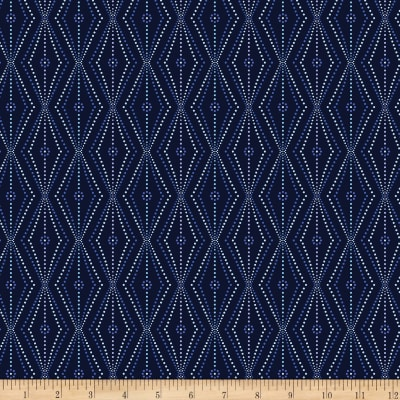 Kanvas Blue Brilliance Linear Daisy & Dots Metallic Navy