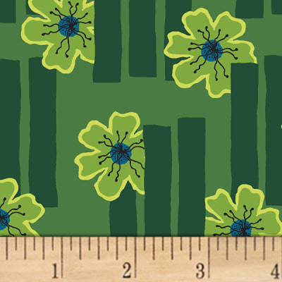 Contempo Printology Flowers Green