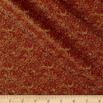 Autumn Leaves Garden Vine Scroll Metallic Spice
