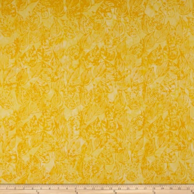 Anthology Batiks Scribbled Leaves Yellow