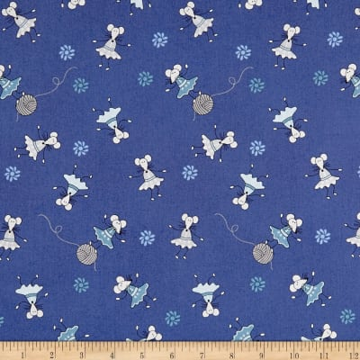 Stof Fabrics Denmark ABCDairies Dancing Mice Royal Blue