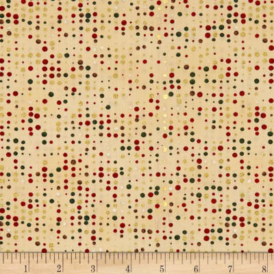 Stof Fabrics Denmark Amazing Stars Dots On Metallic Gold/Cream