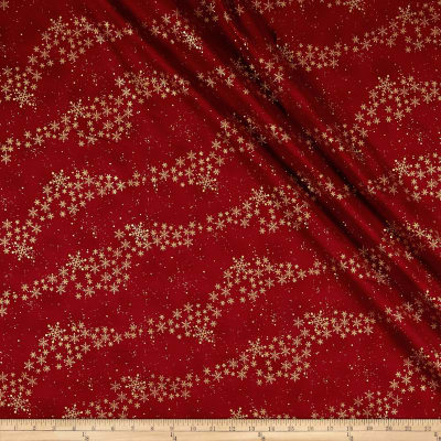 Stof Amazing Stars Snowflake Trail Metallic Gold/Dark Red