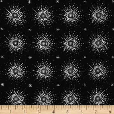 Stof Amazing Stars Dots Metallic Silver/Black