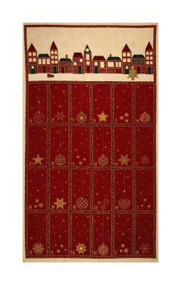 "Stof Fabrics Denmark Amazing Stars Advent Calendar 24"" Panel Metallic Gold/Dark Red"