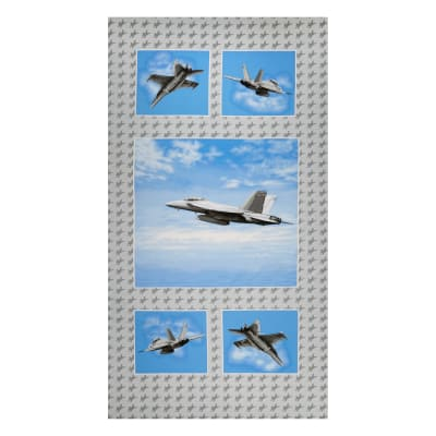 """Air Show Fighter Jet 24"""" Panel Blue/Gray"""