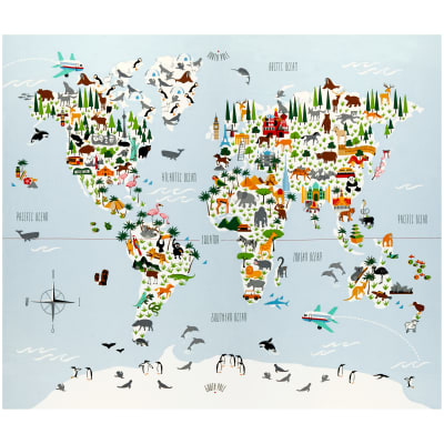 "Little Explorers Map 36"" Panel Blue"