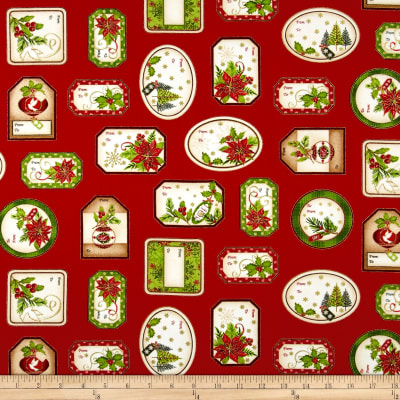 Christmas Village Labels Red