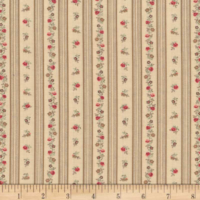 Stof Trachten Rosen Floral Stripe Cream/Red Multi