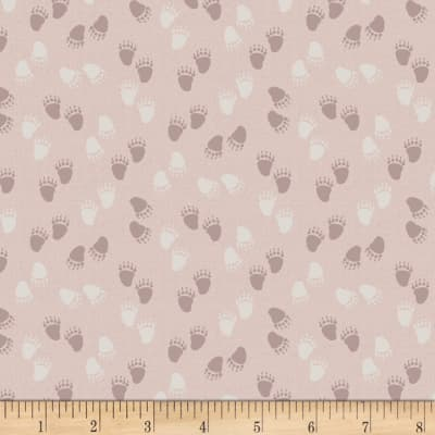Stof Woodland Bear Paws Lt Pink/Cream