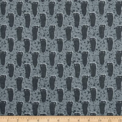 Michael Miller Bigfoot Boogie Flannel Bigfoot Print Gray
