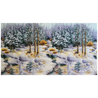 "Michael Miller Snow Chateau Snowy Woods 23.5"" Panel Winter"