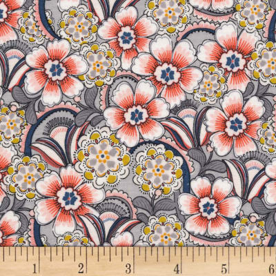 Michael Miller Daisy Paisley Lacey Daisy Floral Coral