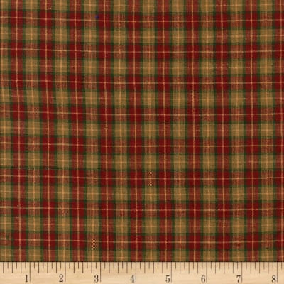 Rustic Woven Med Plaid Wine/Green