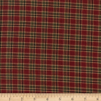 Rustic Woven Plaid Wine/Dk Green
