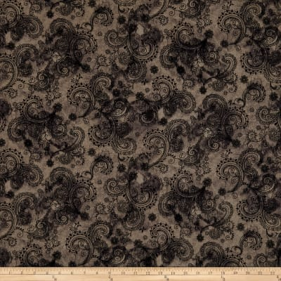 "QT Fabrics Avalon 108"" Wideback Decorative Filigree Grey"