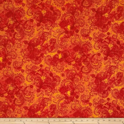 "QT Fabrics Avalon 108"" Wideback Decorative Filigree Orange"