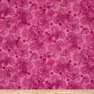"QT Fabrics Avalon 108"" Wideback Decorative Filigree Pink"