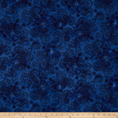 "QT Fabrics Avalon 108"" Wideback Decorative Filigree Midnight"