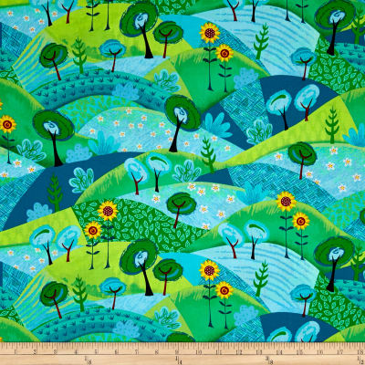 QT Fabrics Along The Countryside Patch Blue