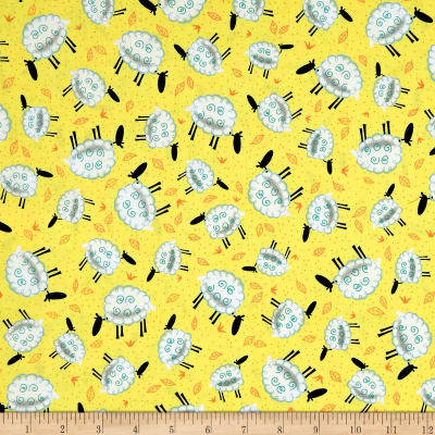 QT Fabrics Along The Countryside Sheeps Soft Yellow