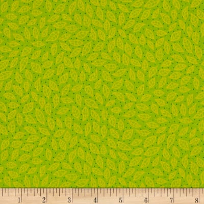 QT Fabrics Along The Countryside Tiny Leaves Light Lime